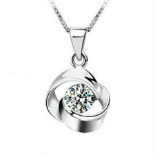 925 Sterling Silver Zircon Whirling Pendant Necklace For Women Valentine's Day