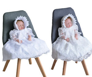 Baby Girls Lace Party Christening Dress Bonnet 0 3 6 9 12 18 24 Months