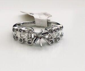 Solid Platinum 0.64 TCW Diamond Semi Mount Engagement Ring Center 0.5-0.75 Ct