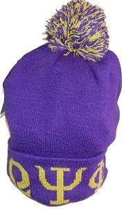 Buffalo Dallas Omega Psi Phi Knit Cuff Mens Beanie Cap with Ball [Purple]