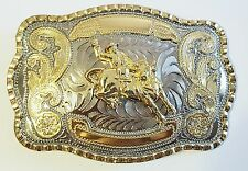 BULL RIDE  RODEO ANIMAL LONG HUGE RODEO BIG COWBOY WESTERN SHINE BELT BUCKLE