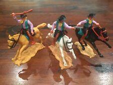Timpo 2nd Series Mounted Cowboys x 3 -  Lilac Shirts/ Green Waistcoats -1960's