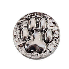 Silver Alloy Bear Paw Round Snaps Buttons Charms Snap Jewelry Fit 18mm