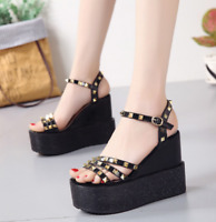 Womens Rivets Ankle Straps Platform Wedge High Heels Sandals Creepers Shoes Zhou