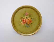 ANTIQUE FRENCH TOLEWARE SERVING TRAY with hand-painted floral decor