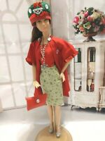 OOAK DOLL HANDMADE CLOTHES FASHIONISTA CHRISTMAS DRESS & COAT OUTFIT DRESS