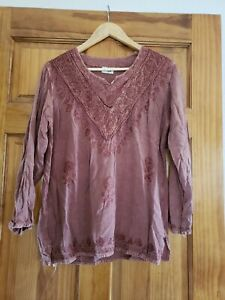 Made in India rust rayon embroidered tunic L