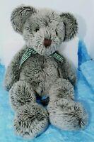 "Russ Berrie  ""Ashley"" 14"" Green Gray Plush Teddy Bear Wearing Checked Bow"