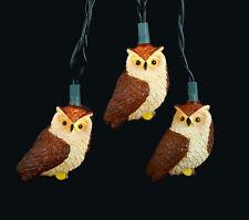 KURT S. ADLER NOVELTY BROWN OWL CHRISTMAS LIGHTS 10 LIGHT SET