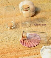 5 clear glass bottles jag vial with cork 50x22mm Craft Beading Oil container New