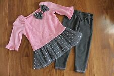 Youngland Baby Toddler Girl 18 month Pink and Gray outfit EUC!