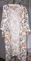 NEW Plus Size 1X White Floral Open Kimono Cardigan Jacket Duster Topper