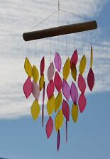 Large Windchime Frosted Glass Pinks & Yellows Sahara Waterfall Leaves