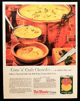 Vtg 1958 Del Monte cream corn crab chowder advertisement print ad