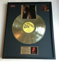 THE ROLLING STONES STICKY FINGERS 1971 GOLD METALIZED VINYL RECORD IN FRAME