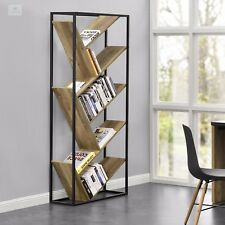 Industrial Room Divider Urban Bookcase Wood Metal Storage Unit Book Shelf Rack