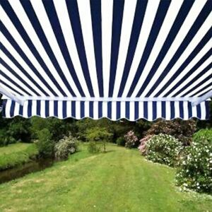 ALEKO Motorized Retractable Patio Awning 16 X 10 Ft Blue and White Stripe