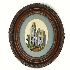 Counted Cross Stitch Framed Wall Art Victorian House Blue San Francisco Vintage