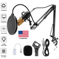 Condenser Microphone Mic Kit Studio Audio Recording Stand Mount For Youtube Live