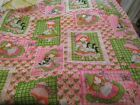 Vintage 70's Fabric Holly Hobbie Style Cotton Pink Gingham Black Cat Floral 2 yd