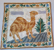 "SILK Camel Landscape 16"" ARI Crewel Chain-Stitch Embroidery Pillow-Case RT Face"