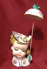 1950's Head Vase Headvase Girl w/Umbrella Spring Easter Relco