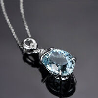 Fashion Natural Aquamarine Gemstone Charm Pendant Silver Chain Necklace Jewelry