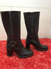 "Aldo Women's Boot Size 39 Black Leather Heels Leather. Harness  15.5""highs"