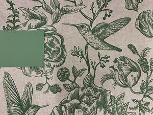 Calke  Birds Toile  Green Linen/Cotton 140cm wide Curtain/Upholstery Fabric