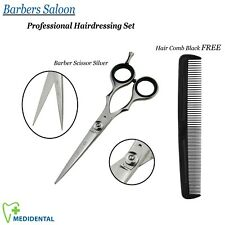 """Professional Hairdressing Grooming Barbers Scissor Silver 5.5"""" + FREE Hair Comb"""