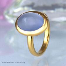 Ring in 750/- Gelbgold glänzend - mit 1 Mondstein 13,73 mm x 9,74 mm