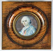 Antique Portrait Miniature King Louis XV Maurice Quentin De La Tour Painting
