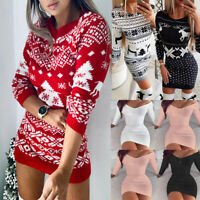 Women Christmas Floral Bodycon Dress Ladies Party Evening Sweater Mini Dresses