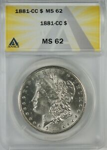1881-CC $1 BU Morgan Silver Dollar Coin ANACS MS62 **Carson City**