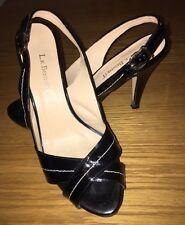 LK Bennett Black Patent Leather Slingback Stiletto Heels Sandals 5/38