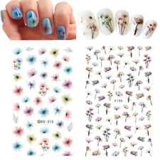 2Sheets Nail Art 3D Adhesive Stickers Water Decals Flower Manicure Decoration