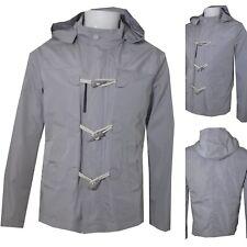 giacca a vento uomo primaverile M giubbotto cappuccio alamari estivo grigio