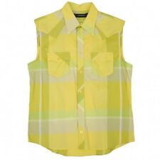 (SALE) J.LINDEBERG Cotton Plaid Sleeveless Waistern shirt Size L(K-14224)