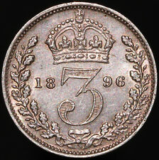More details for 1896   victoria threepence   silver   coins   km coins