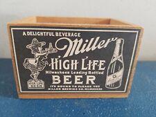 (Vtg) Miller High Life Beer girl on the moon pencil pens holder wooden crate