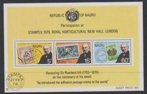 Nauru - 1979, Death Centenary of Sir Rowland Hill sheet - MNH - SG MS207