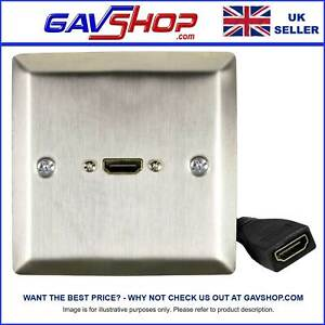 SINGLE HDMI SOCKET POLISHED STEEL WALLPLATE / FACEPLATE WITH FEMALE TAIL LEAD