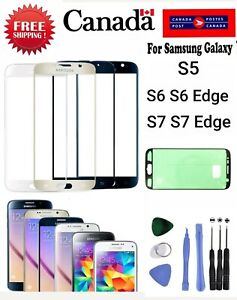 Front Screen Glass Replacement For Samsung Galaxy S5 S6 S7 edge with Adhesive..