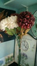 Tall 9 stem faux flower bunch of hydrangea large heads whites / reds