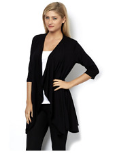Join Clothes 3/4 Sleeve Waterfall Front Cardigan Black L