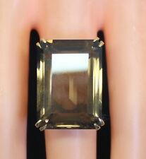 GORGEOUS LARGE! 14K Yellow Gold 38 Ct Emerald Cut Smokey Topaz Ring Size 5.75