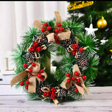 Christmas Wreath Artificial Pinecone Red Berries Garland Decoration Ornament
