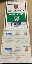 More details for england v ireland rugby 1st february 1992 programme with 2 match tickets - all s