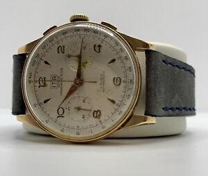 Montre ITA OR /Solid Gold 18K 37mm Chronograph Landeron 51 Read/lire Description