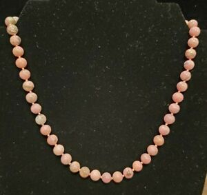 Rhodonite 8mm Beaded Natural Gemstone Necklace 18 Inches
